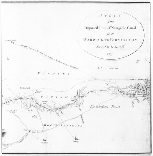 Plan of the Birmingham to Warwick canal at Acocks Green