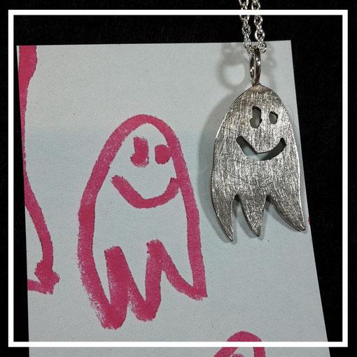 Einfach süß, der kleine Künstler war 7, als er das *kleine Gespenst* gemalt hat.