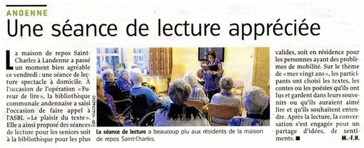 """Article de Marie-France HÉRION  """"Une séance de lecture appréciée"""" En duo avec Bambina Liberatore, dans le cadre de La Fureur de lire, avec le Plaisir du Texte."""