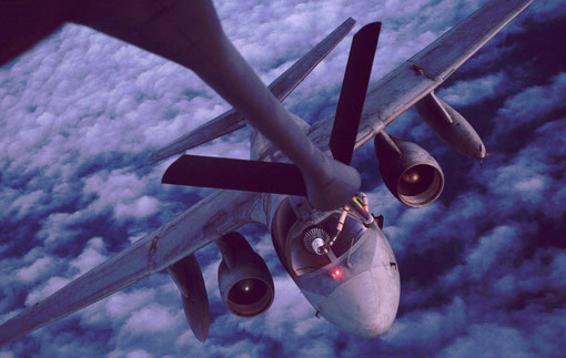A thirsty S-3 subhunter takes fuel from a flying tanker.