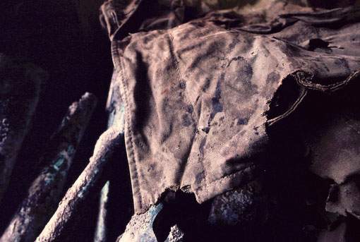 Bloodstains on a Japanese Army rucksack; at a cave-entrance memorial, Iwo Jima, Japan.