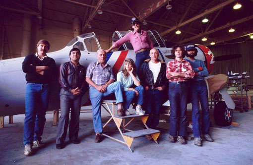The aircraft restorers; a group portrait: Van Nuys Airport, Cailfornia, USA.