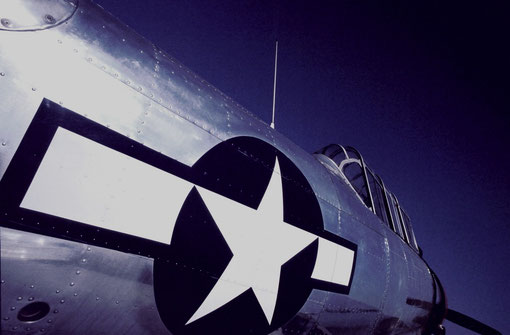 The USAAF insignia on a WW II-era AT-6 trainer, restored to its original finish.
