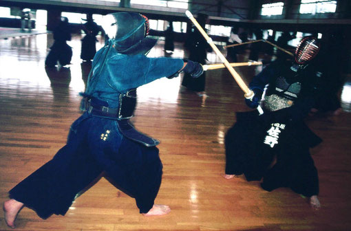 The blow is parried: kendo practice, Nara, Japan.
