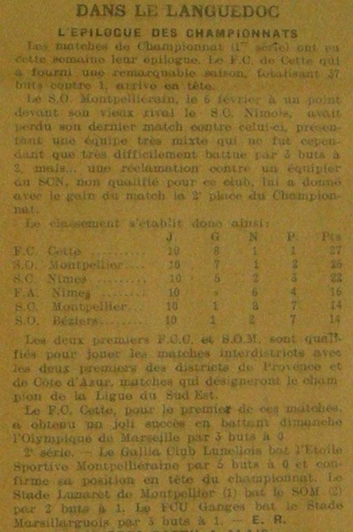 Sud-Est - district du Languedoc - saison 1920/21 - 1° série