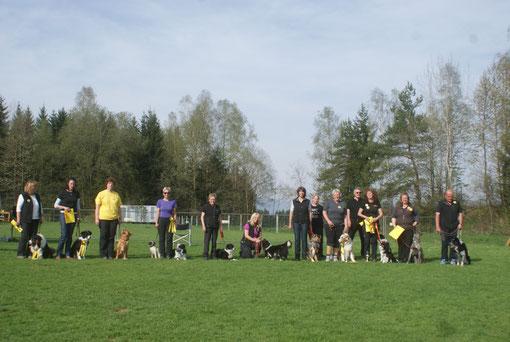 Die raindogs nach der Obedience-Prüfung am 1. Mai 2013