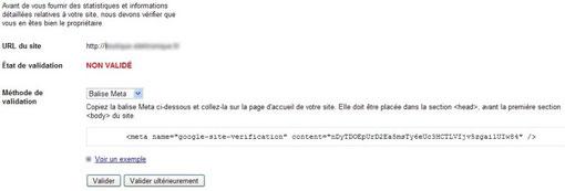 Ajout d'un site à Google outils webmasters Choix-de-la-validation