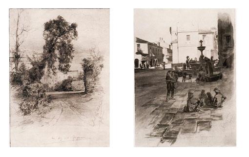 Illustrazioni di Allers in Gragnano, di cui a destra la fontana di Piazza Trivione, fine 1800
