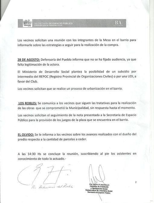 Acta Reunion con la Mesa Provincial (4 de diciembre de 2012)