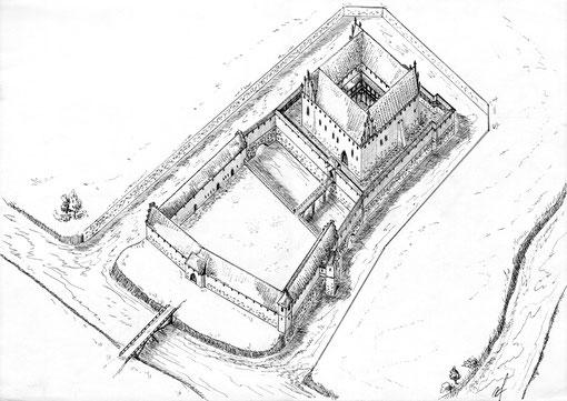 замок Тапиау 14 в.  реконструкция АП Бахтина рис Осипова