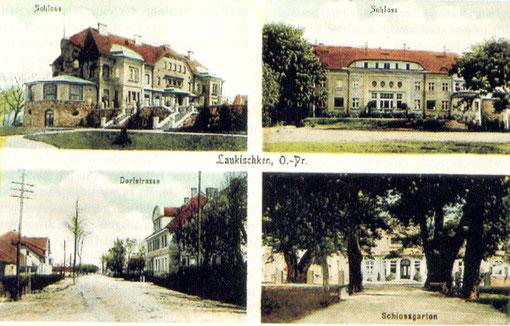 С открытки Лаукишкена (Саранское)1,2-замок, 3-сельская улица,4-замковый сад.