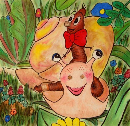 """Balduin Rotschleif, der Regenwurm und Marina die Schnecke aus der Serie """"magisches Wiesenreich"""""""