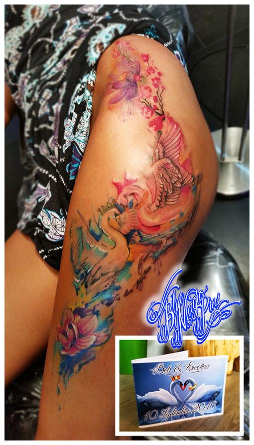 find meanings behind artwork blue magic pins genk belgium matching wedding watercolor tattoo swans lotus leg piece