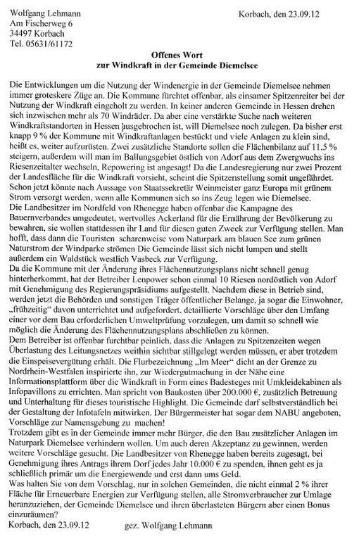Ungekürztes Exemplar Offener Brief an WLZ 28.09.12