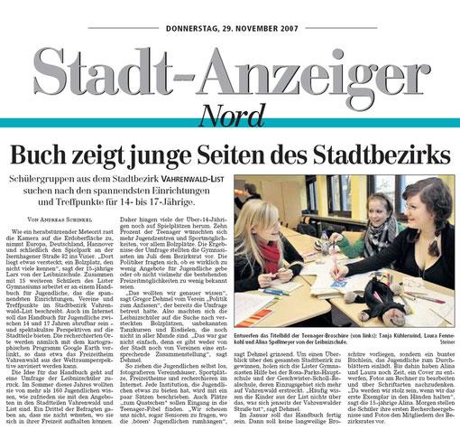 Der Stadt-Anzeiger über das Vahrenwald/List-Handbuch Jugendbeteiligung Politische Bildung Kommunalpolitik