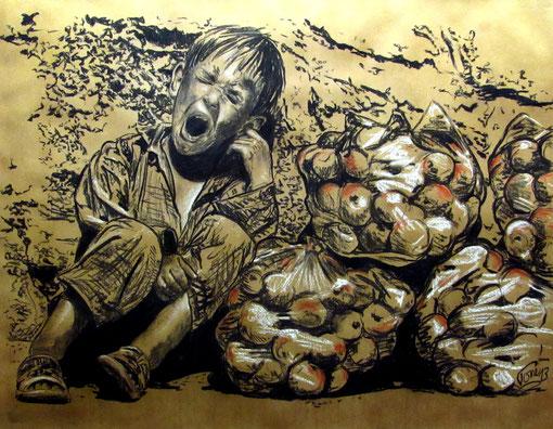 1132  P 1445  Müder Apfelverkäufer,  Kohle und Kreide, 130 X 107 cm, Augsburg, 3.4.2013