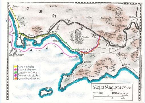 """Mapa realizado por Valentina Bernal, 4º ESO C a partir de la contraportada de """"Pompeya"""""""