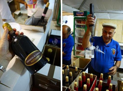 ハウスワインではなく、ビン入りのワインを売るのも、地元のワイナリーを助ける良い姿勢ですね。左のオジサン、電動ねじ回しにオープナーを着けて、器用にコルクを抜いていました!