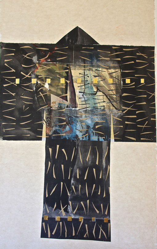 paper kimono 2011    collage   ink   watercolor   gold leaf   rice  and  hemp  paper   110 x 200  cm