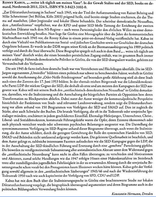 Dr. Konstantin Hermann in: Neues Lausitzisches Magazin. Zeitschrift der Oberlausitzischen Gesellschaft der Wissenschaften zu Görlitz. Band 134/2012, S. 171
