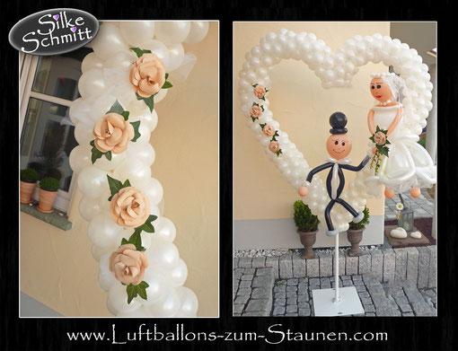 großes Herz Luftballon Ballon Ballonherz Deko Dekoration Hochzeit Polterabend Ständer XXL mit Brautpaar Blumen Papierblumen