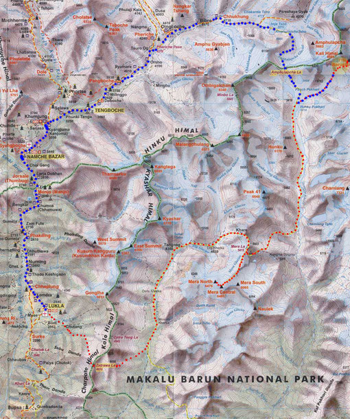 Mera Peak Baruntse Expedition Trekking Map