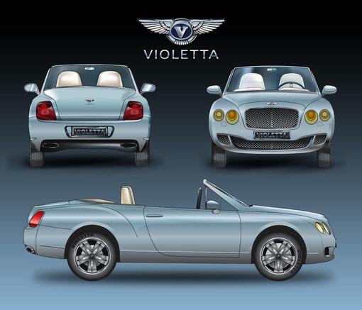 "Bentley ""Violetta"" llustrations réalisées sur logiciels Illustrator & Photoshop"