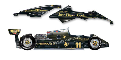 Automotive art Illustration F1 de Angelis lotus 91michel  verrando paint