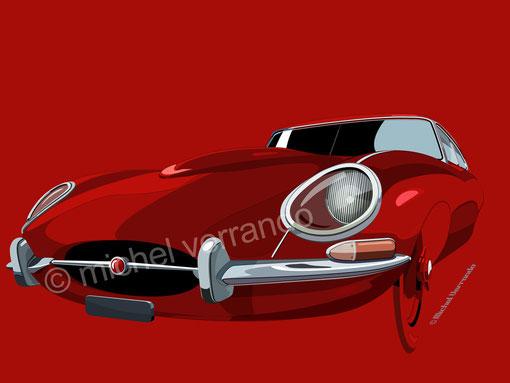 Jaguar Type E Illustration réalisée sur logiciel Illustrator