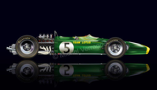 jim clark lotus 49 automotive art illustration
