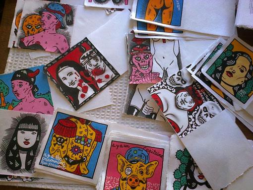 Quelques unes des peintures de Bocaj illustrant Apollinaire