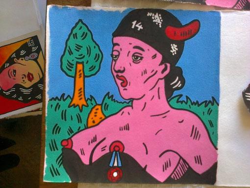 Une des peintures de Bocaj illustrant Apollinaire