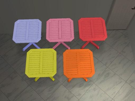 """mini table d'extérieur totalpin"" 5 recolorations"