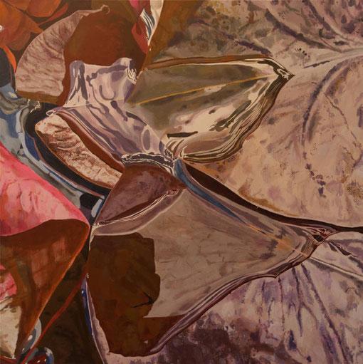 à côté des lotus II, acrylique sur toile, 100 x 100 cm, travail en cours