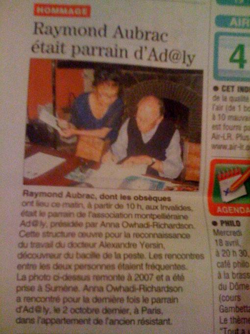 Raymond Aubrac était le Parain d'AD@lY