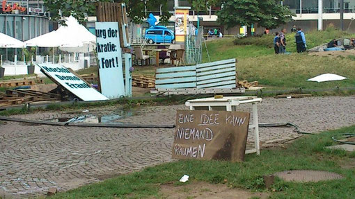 Frankfurt, Occupy-Camp am Tag der Räumung