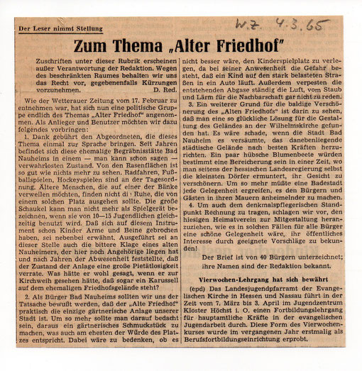 Wetterauer Zeitung vom 4. März 1965 (Text zum Vergrößern anklicken)