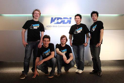 Jimdo founders Fridtjof Detzner, Matthias Henze & Christian Springup with KDDI's Teppei Takahata & Hiromitsu Miyanishi
