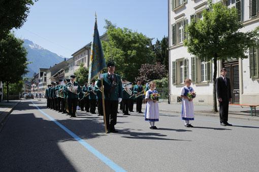 Die HMElm beim Kantonalen Musikfest 2015 in Glarus