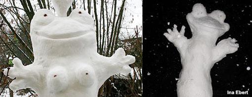 Schneefrösche im Vergleich: Links das adulte Exemplar aus diesem Winter, rechts der Jungfrosch von 2007.
