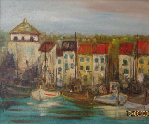 Casas en el puerto - Oleo sobre lienzo