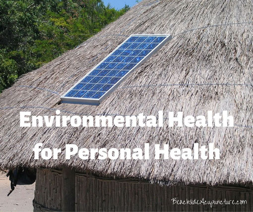 Environmental Health for Personal Health over tiki hut with solar panel
