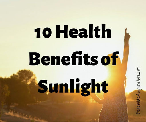 """10 Health Benefits of Sunshine"" over girl's silhouette against a sunrise"
