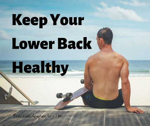 """Keep Your Lower Back Healthy"" over the beach"