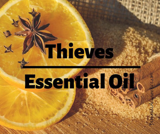 """Thieves Essential Oil"" over citrus, cinnamon, and cloves"