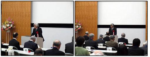 来賓の祝辞 日本農業工学会 町田武美会長(左)、(社)日本気象学会 新野宏理事長(右)