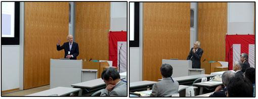 記念講演 門村浩名誉会員(左)と吉野正敏名誉会員(右)