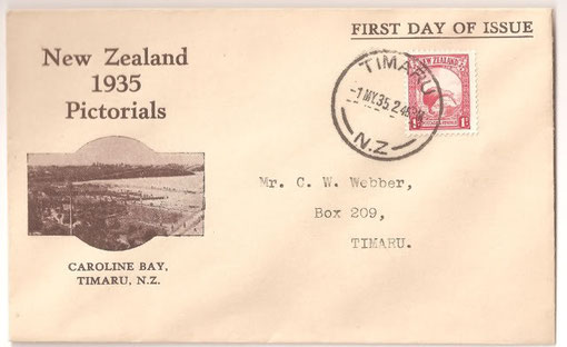 Privately produced FDC from Timaru'