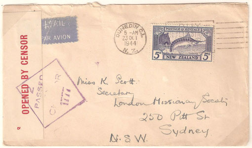 '5d.1944 Oct 23 L8f ,Dunedin to Australia at 5d Trans Tasman Airmail rate, Opened by censor tape and  Passed by Censor 1777 cachet (Australia)