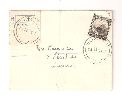 4d. Registered, 23 -11-1938 Christchurch Sumner.